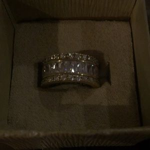 Gold over size 6.5 ring with round and baguette